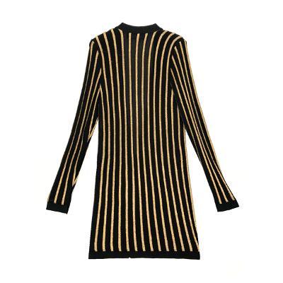 stripe knit cardigan gold & black